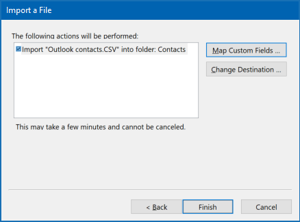 Import Outlook contacts to Outlook - import a file