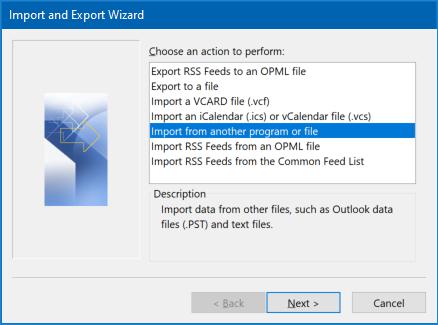Outlook import wizard