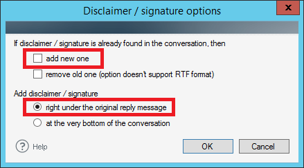 Settings of extensions of email signature