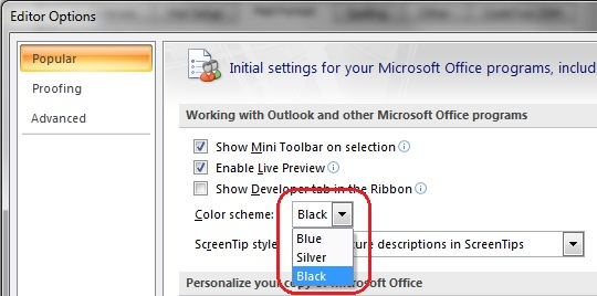 Choosing Preferred Color Scheme From The Drop Down Menu In Outlook 2007