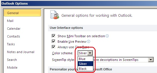 Choosing preferred color scheme from the drop down menu in Outlook 2010