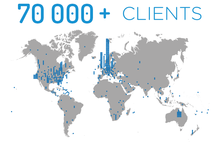 CodeTwo 70,000 Clients Map