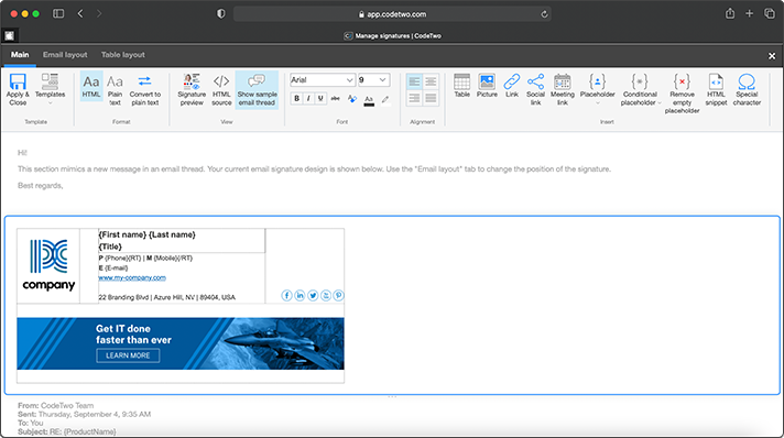 New all-web signature template editor