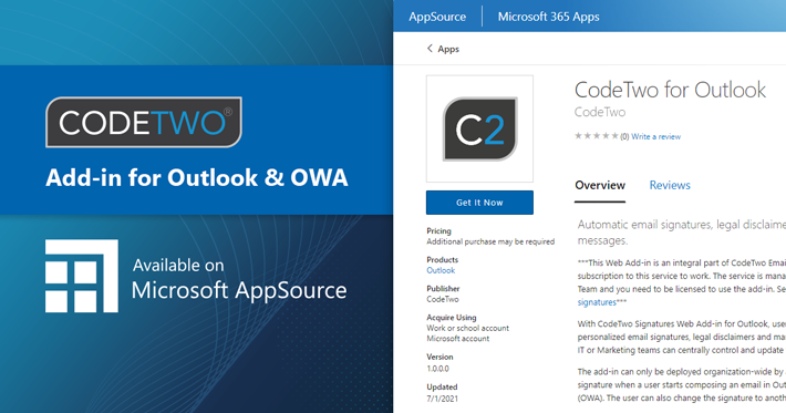 Email signatures add-in from CodeTwo first to become available on Microsoft AppSource
