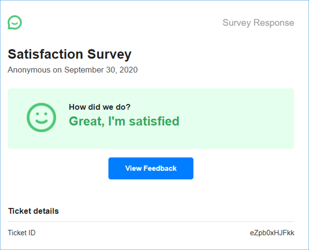 Customer Satisfaction email notification