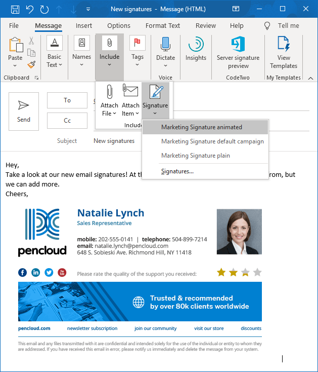 Choose email signature design in Outlook