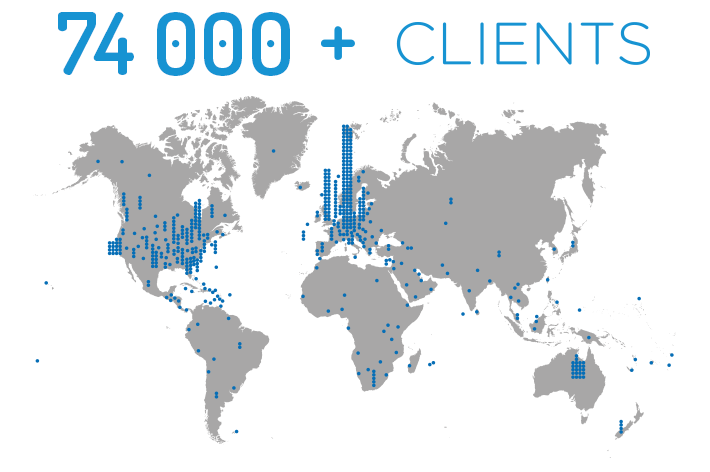 CodeTwo 74,000 Clients Map