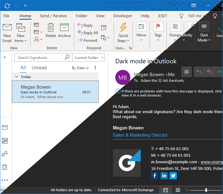 Dark mode in Outlook finally released! See how it works