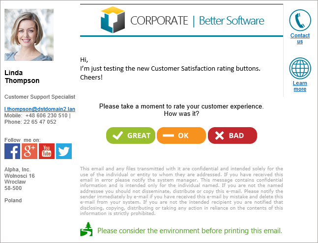 Customer satisfaction test in Outlook 2