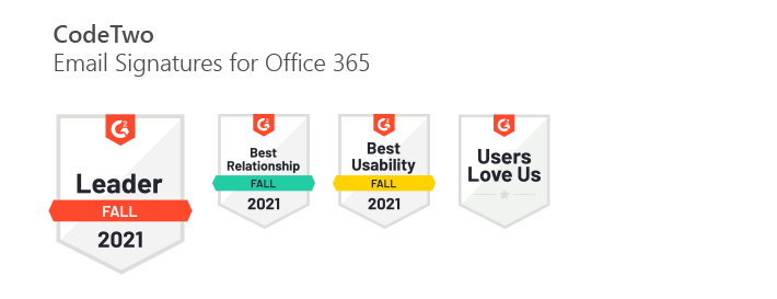 CodeTwo Email Signatures for Office 365 - G2 Fall 2021 awards
