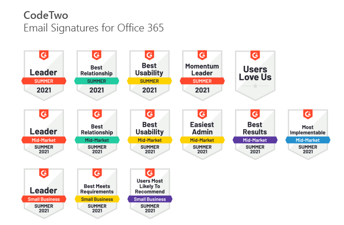 CodeTwo Email Signatures for Office 365 G2 Summer 2021 awards