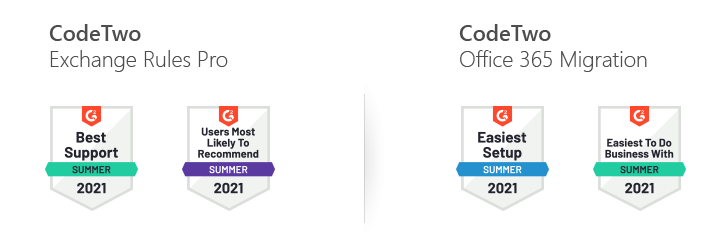CodeTwo solutions G2 Summer 2021 awards
