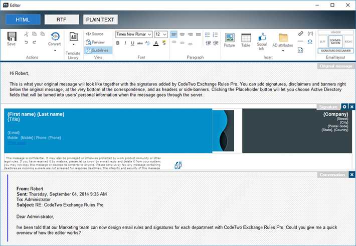 In this handy HTML editor of CodeTwo Exchange Rules you can create email signatures.