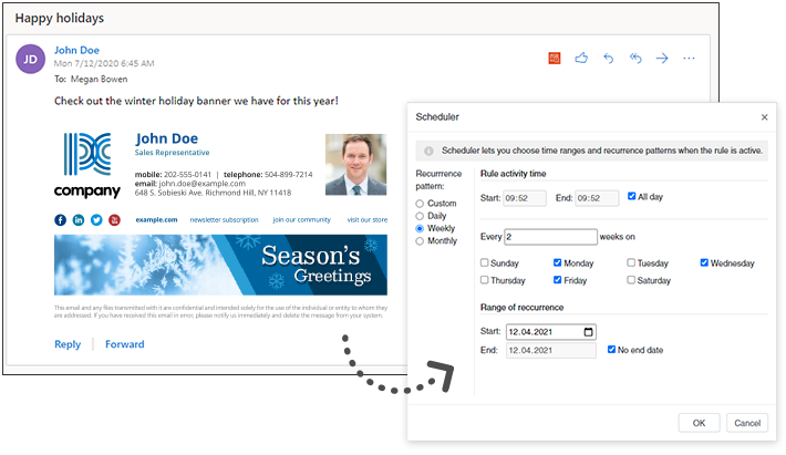 Schedule automatic changes in email signatures