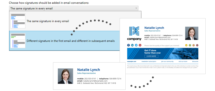 Professional email signatures for business - replies and forwards
