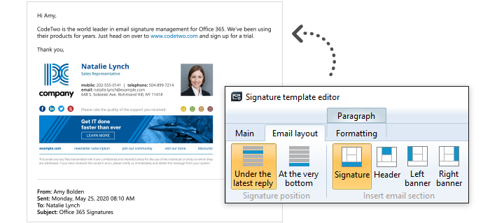 Professional email signatures for business - signatures directly under email body