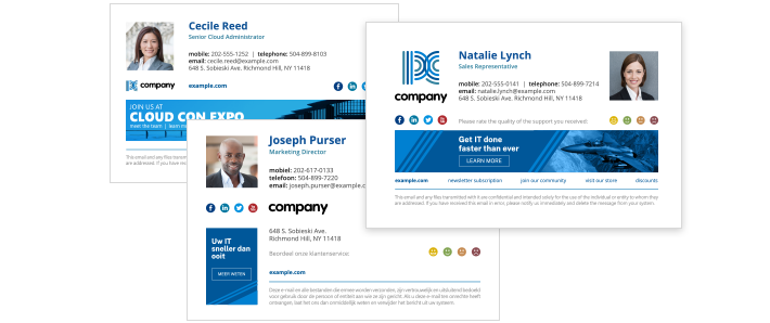 Professional email signatures for business - recipients