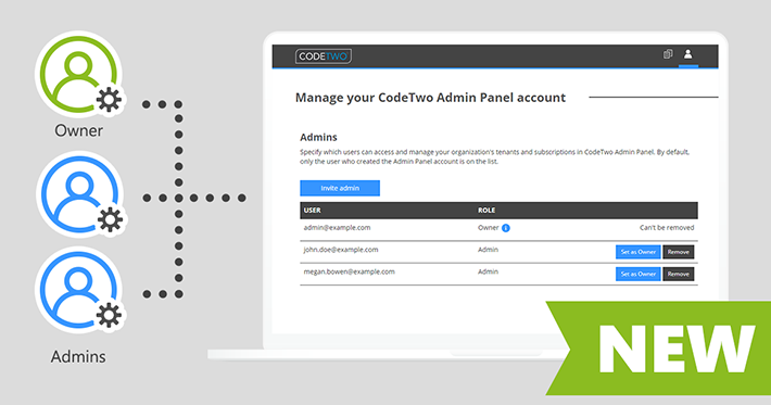 New admin access roles in CodeTwo Admin Panel