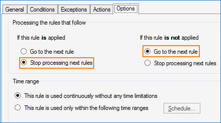 Exchange Rules stop processing next rules