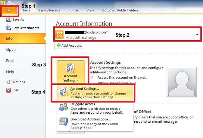 Removing an email account in Outlook 2010