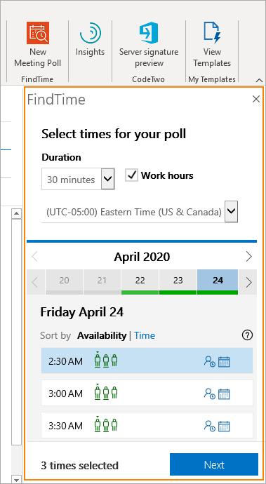 FindTime poll in Outlook
