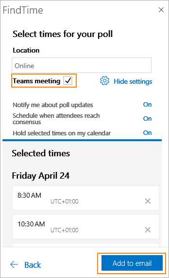 FindTime poll can set up Teams meeting