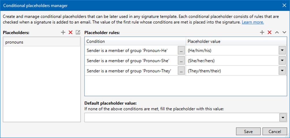 Gender pronouns - add pronouns placeholder