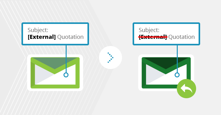 How to remove keywords from subject line or email body in replies
