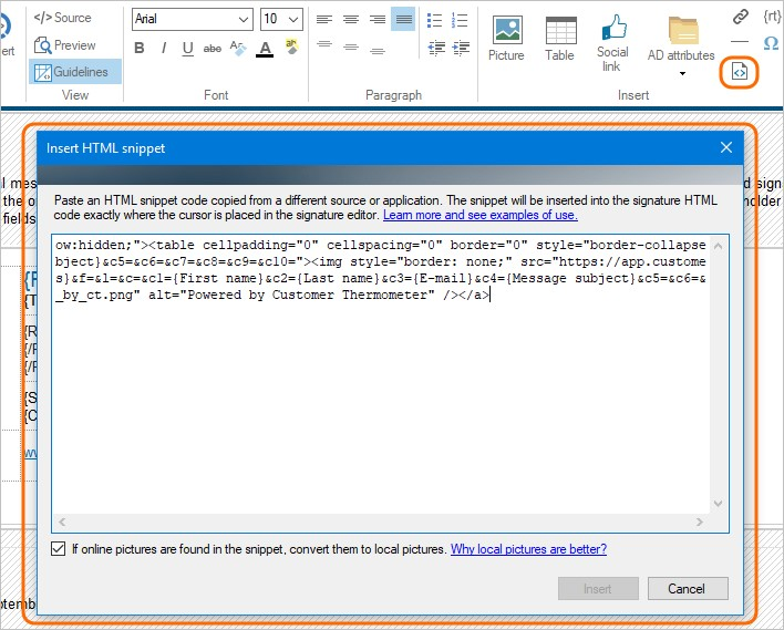 Insert HTML snippet to your Office 365 signatures