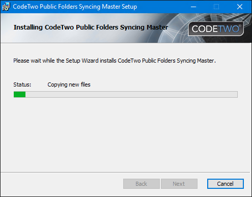 Installation of CodeTwo Public Folders - the progress bar