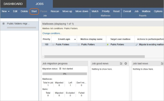 Jobs tab - start migration of Public Folders.