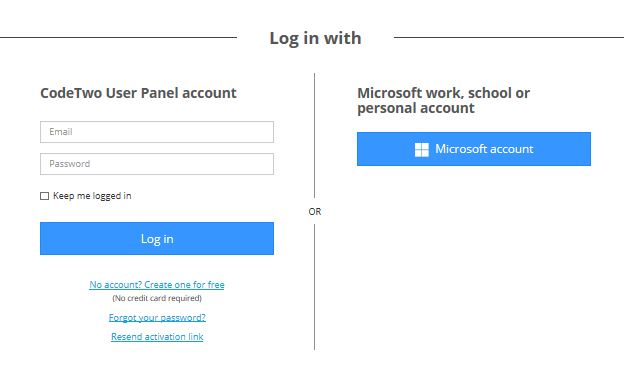 Log in to the User Panel of CodeTwo Email Signatures for Office 365