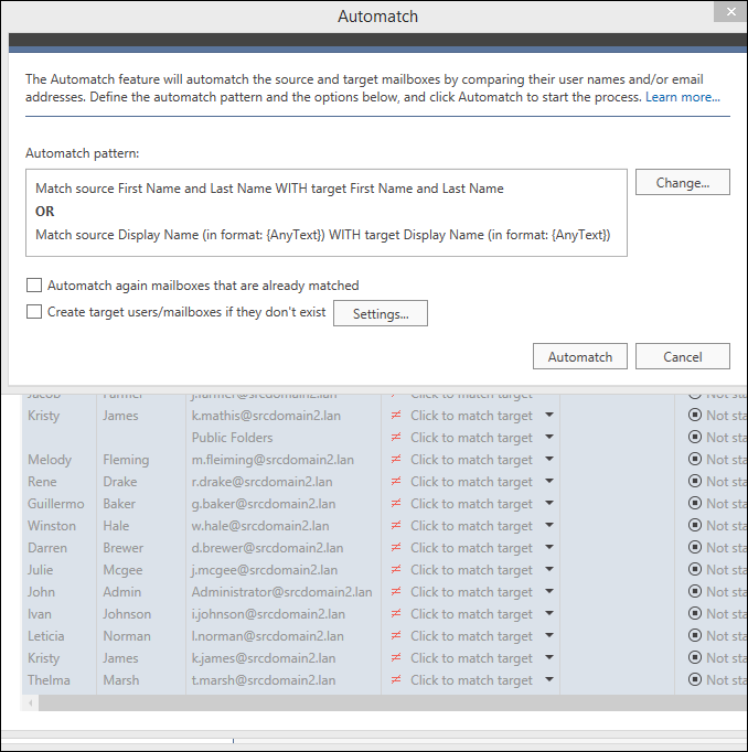 Migrate legacy Exchange - Automatch mailboxes