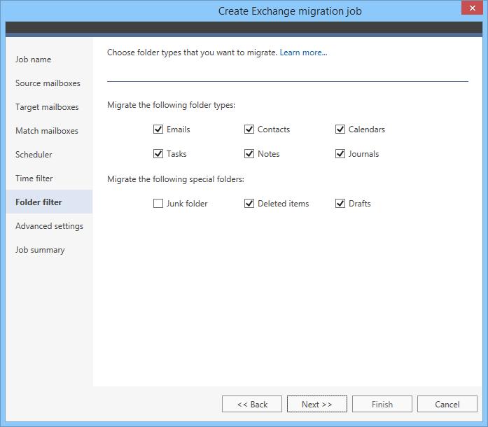 Migrate legacy Exchange - Folder filter