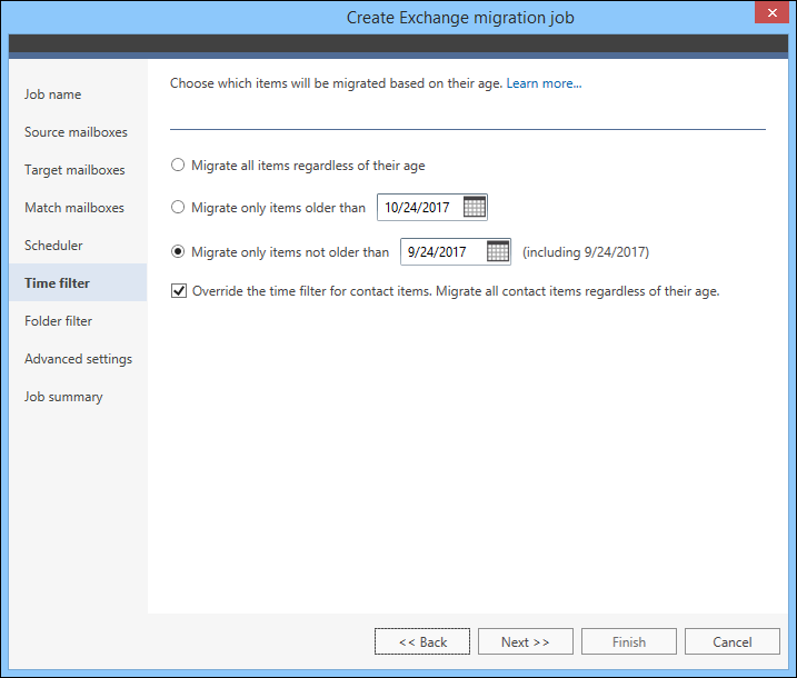 Migrate legacy Exchange - Time filter a