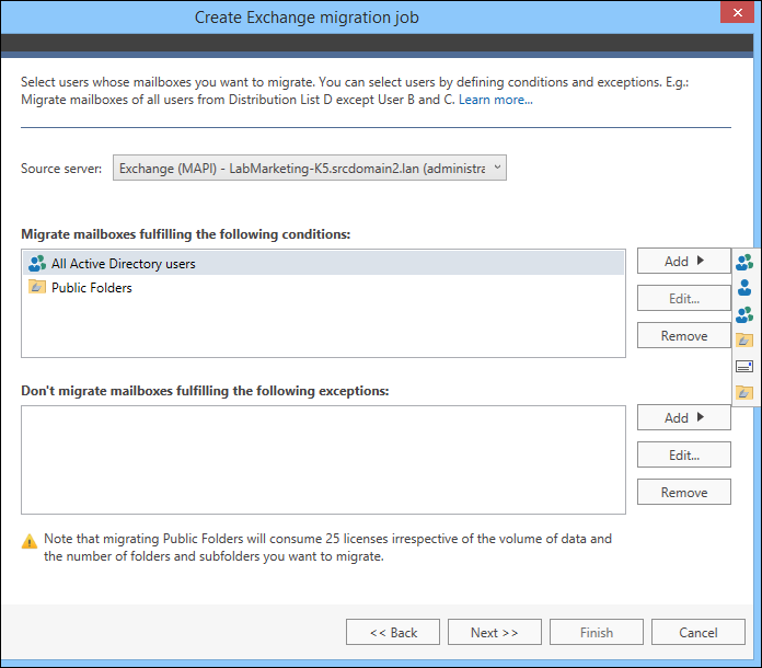 Migrate legacy Exchange - choose source mailboxes