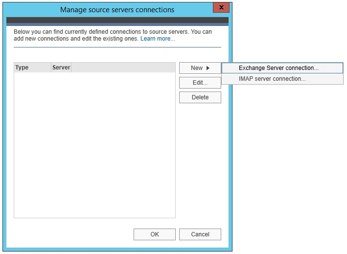 New Exchange Server connection.