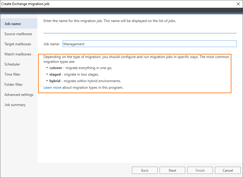 Configure migration job depending on the migration type