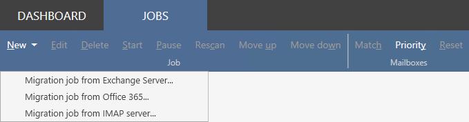 Office 365 Migration Jobs tab