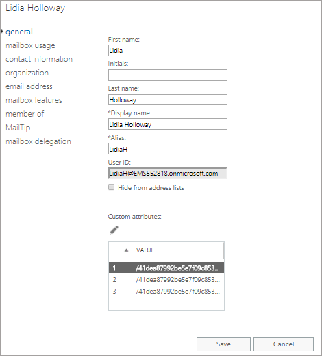 Office 365 admin center edit Exchange attributes