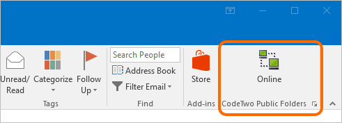 The Online icon of CodeTwo Public Folders in Outlook 2016.