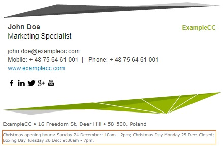 Christmas business opening hours in the email signatures.