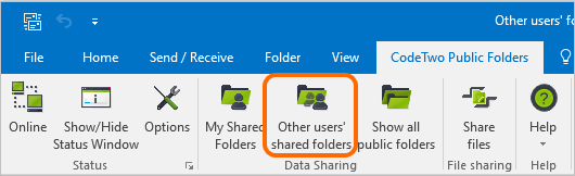 Other users' shared folders button in Outlook 2016.