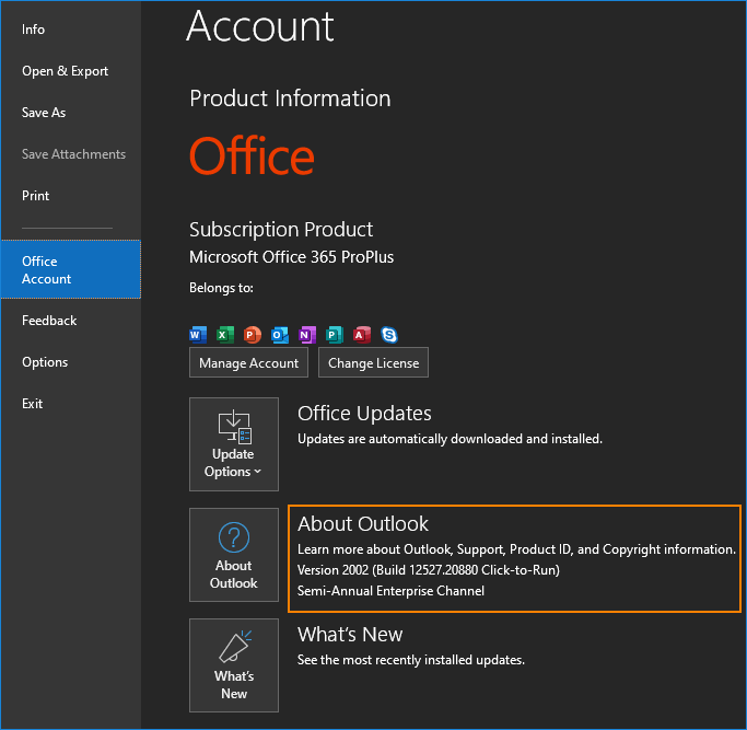 Outlook for Microsoft 365 check version