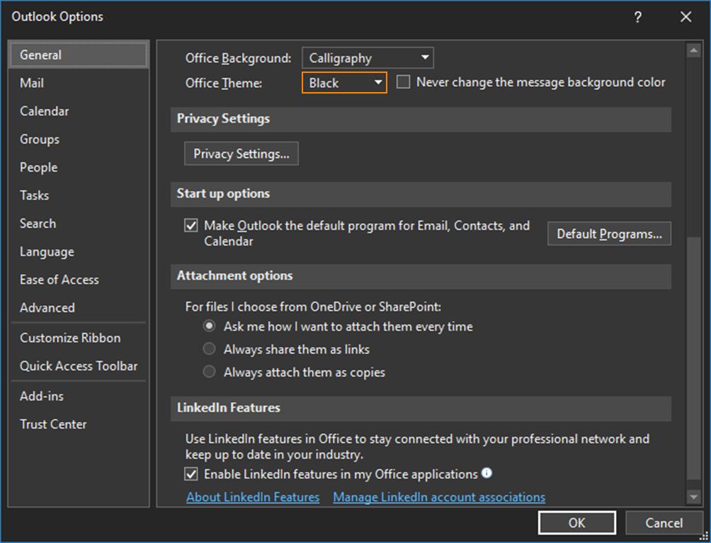 Outlook options - black theme dark mode