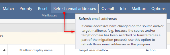 Refresh email addresses