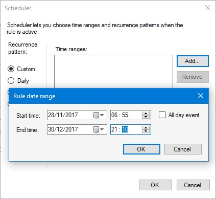 Schedule custom time