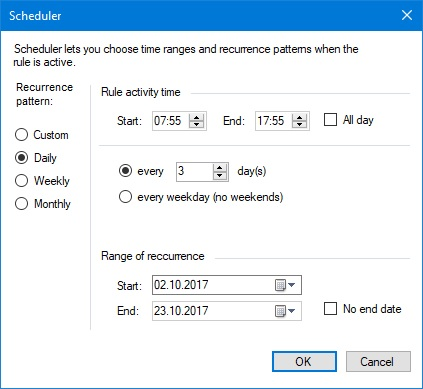 Schedule recurrence pattern