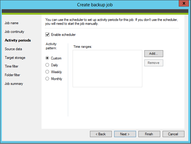 Enable and configure the program's scheduler
