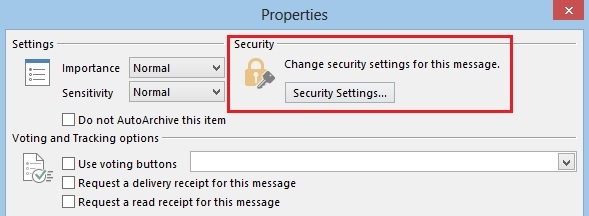 Security Settings option